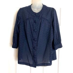 a.n.a Navy Blue Sheer Button Up Blouse